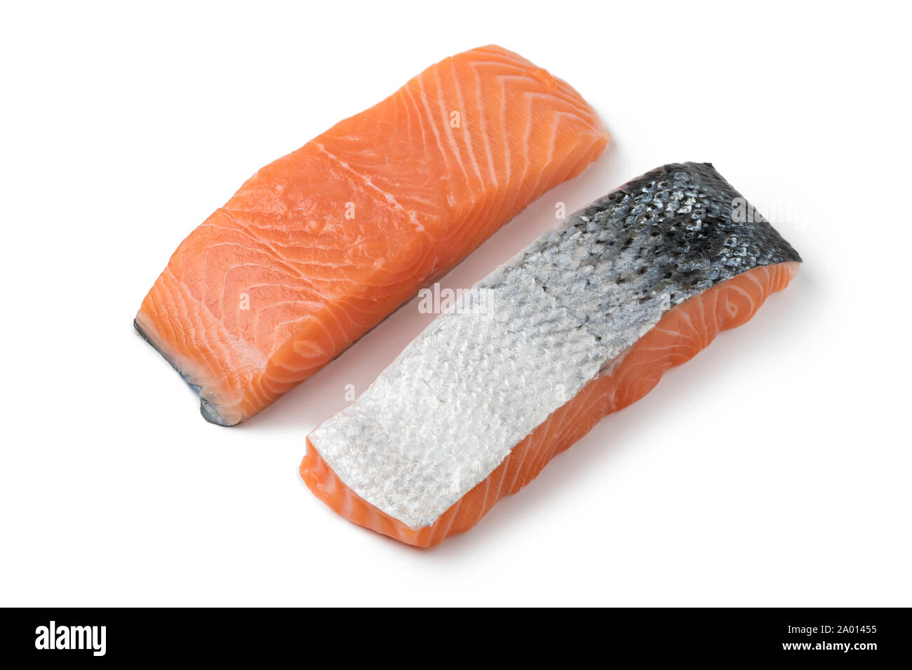 Fresh raw salmon steaks isolated on white background Stock Photo