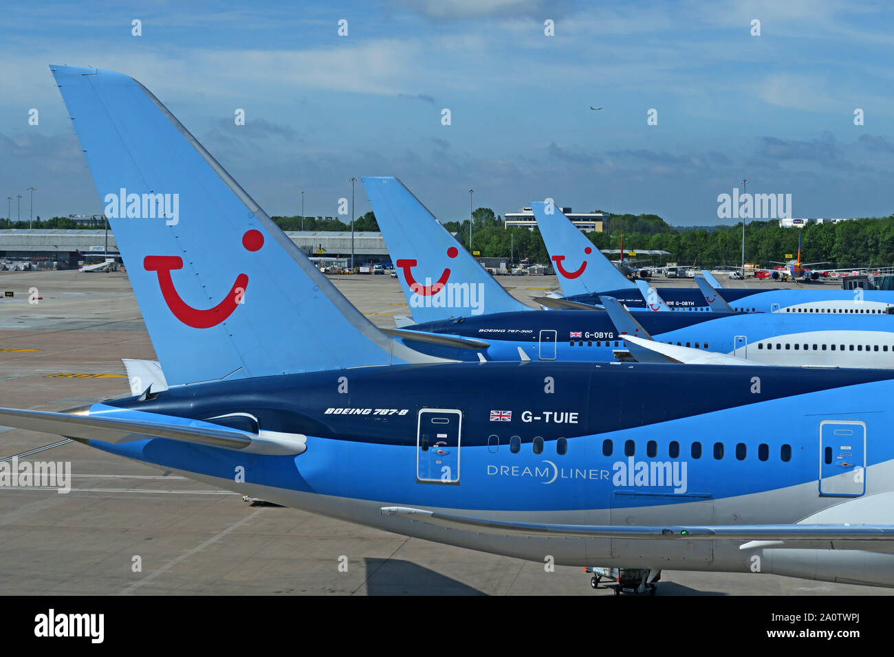 GoTonySmith,HotpixUK,@HotpixUK,MAN,MAG,apron,planes,jet,Boeing,Airbus,taxi,taxing,Ringway,UK,England,North West,TUI Aircraft,TUI Plane,TUIFly,TUI AG,tourism,charter,holiday,parked planes,Thomson Travel,Thomson,Hannover,family holidays,disruption,strike,Three aircraft,787-8 G-TUIE Dreamliner,Boeing 787-8,G-TUIE Dreamliner,Dreamliner,G-OBYG,G-OBYH,TUI Airways,Thomson Airways,Thomsonfly