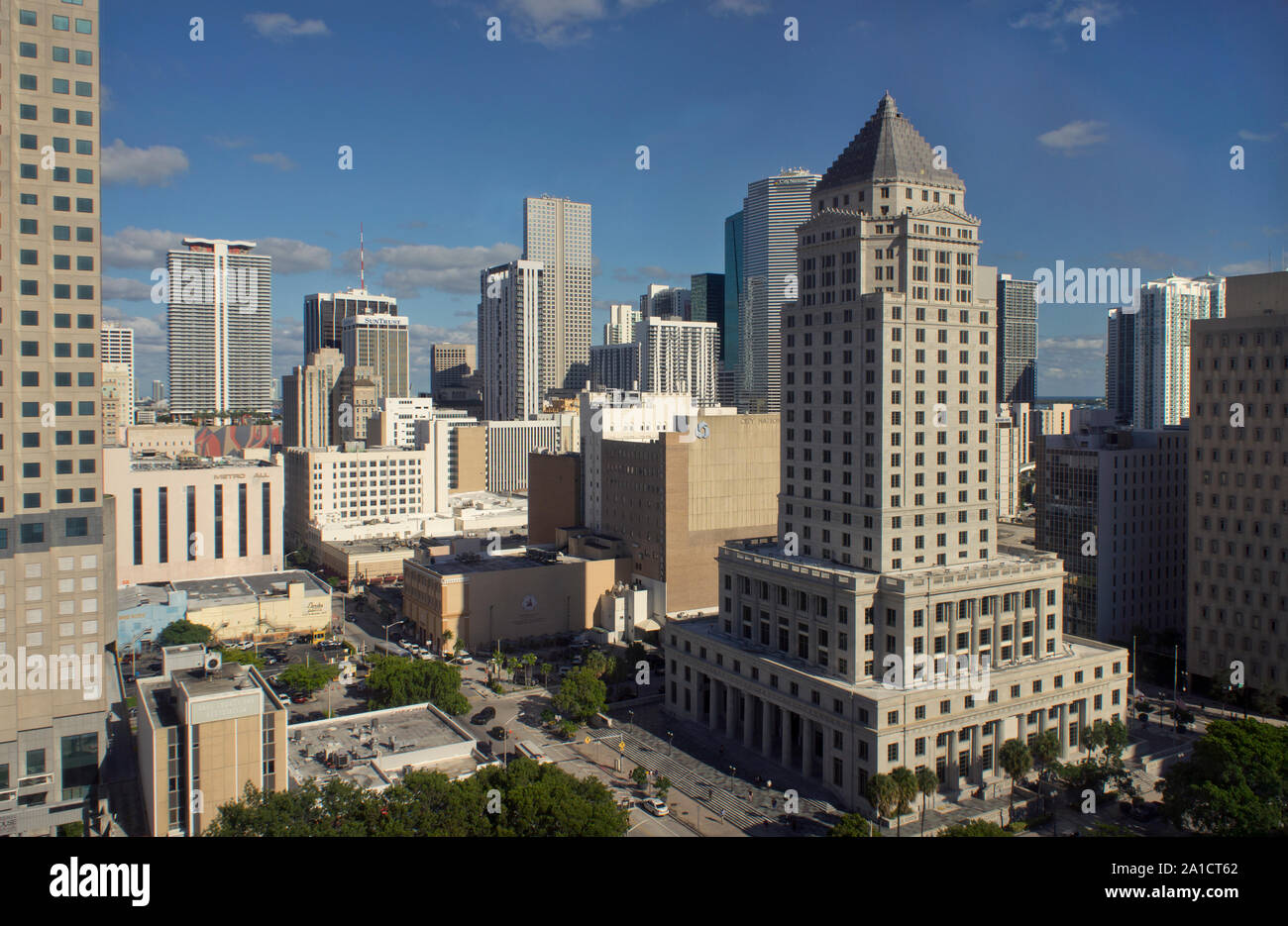 View of historic Miami-Dade County Courthouse tower from Government Center building  in downtown Miami, Florida, USA Stock Photo