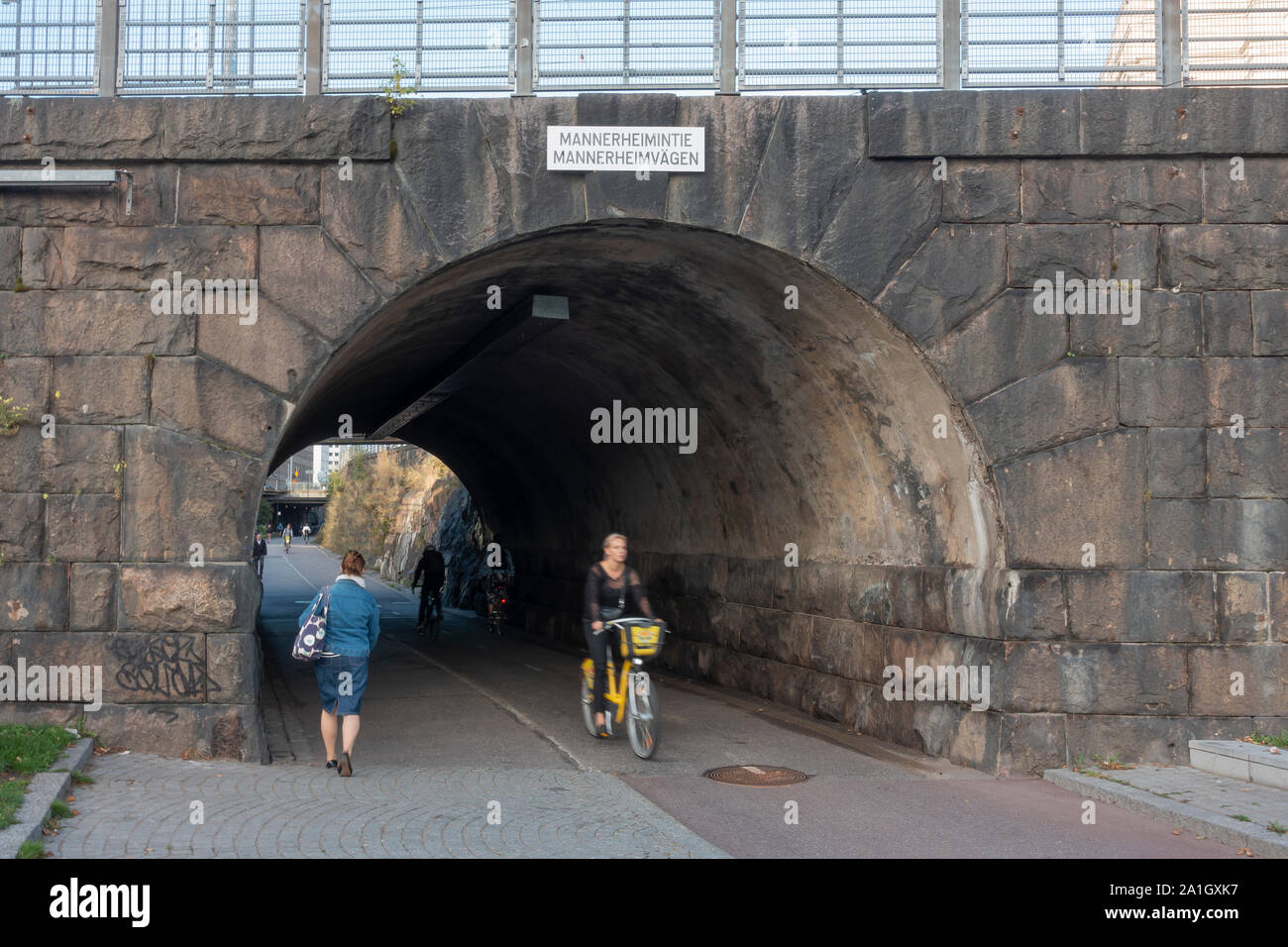 Baana is a road for bicyclists and other light taffic in Helsinki Finland Stock Photo