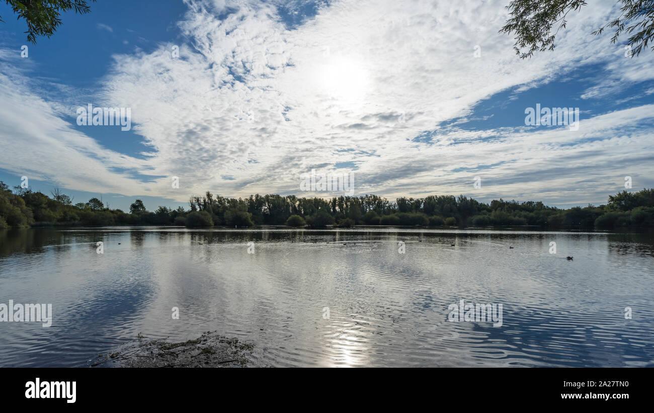 lake and sky reflection Stock Photo