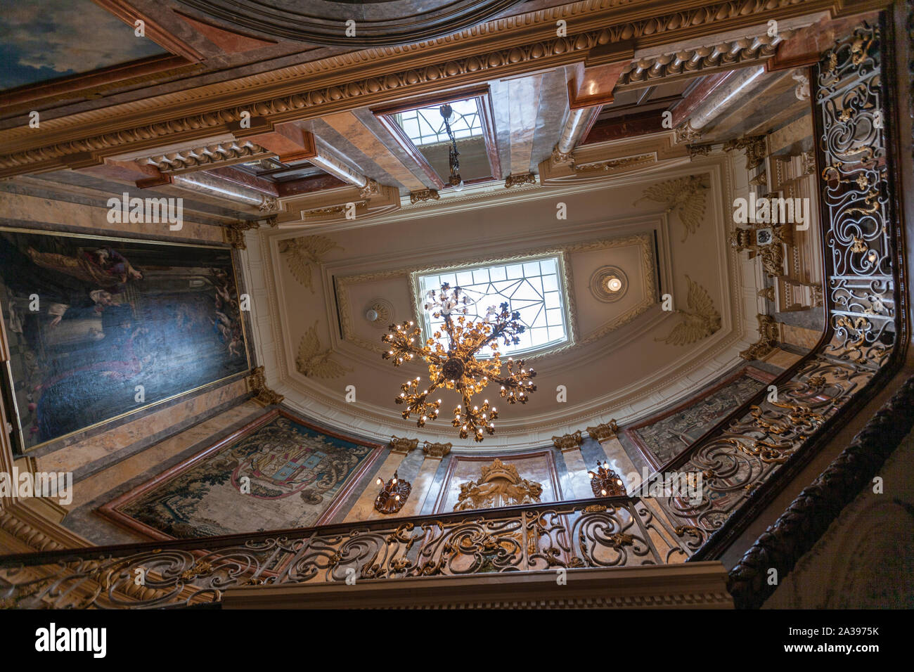 Main Doorway and Main Staircase of Museo Cerralbo, Madrid, Spain Stock Photo