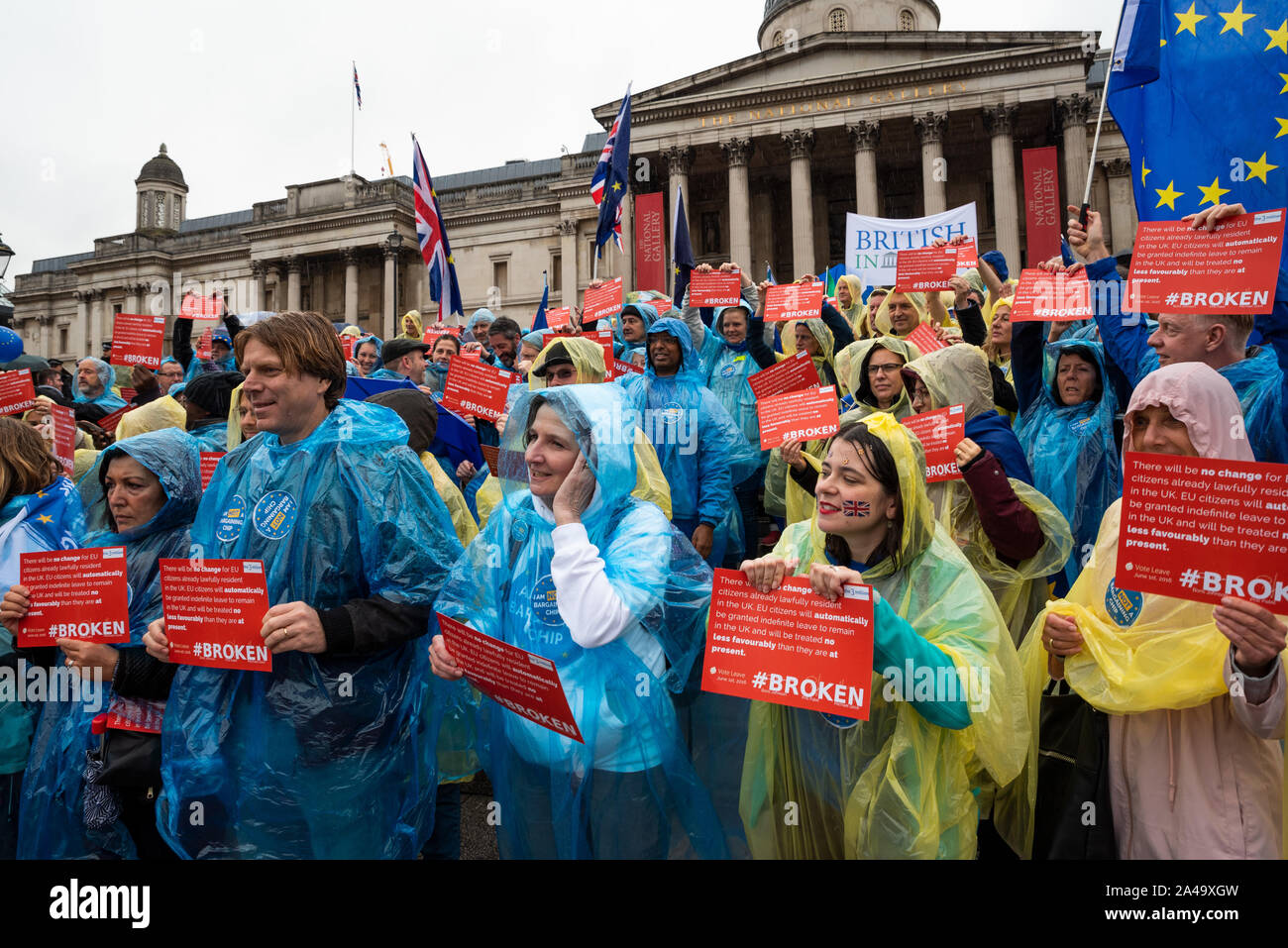 london-uk-12th-october-2019-the3million-protest-trafalgar-square-the3million-is-a-campaign-organisation-for-eu27-citizens-in-the-uk-defending-the-rights-of-eu27-citizens-to-live-work-study-raise-families-and-vote-in-the-uk-as-they-currently-do-now-whatever-the-outcome-of-brexit-here-campigners-braved-continuous-rain-on-steps-at-trafalgar-square-holding-a-banners-and-placards-highlighting-broken-promises-made-to-uk-resident-eu-citizens-by-boris-johnson-priti-patel-and-michael-gove-in-2016-credit-stephen-bellalamy-2A49XGW.jpg