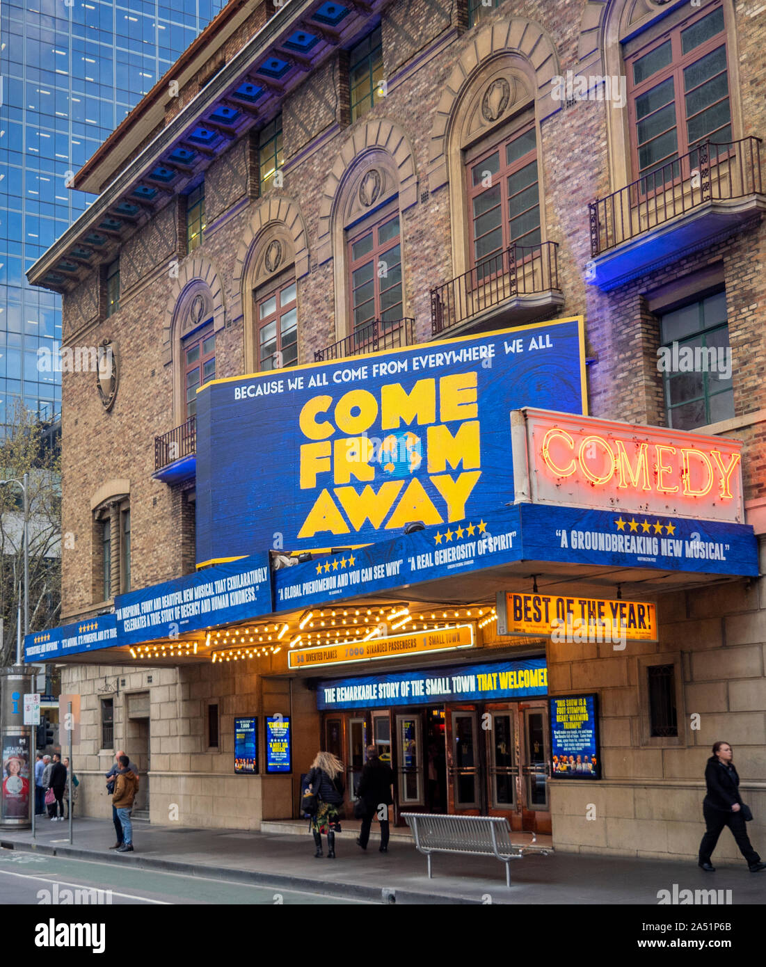 Musical Come From Away showing at Comedy Theatre Exhibition Street Melbourne Victoria Australia. Stock Photo