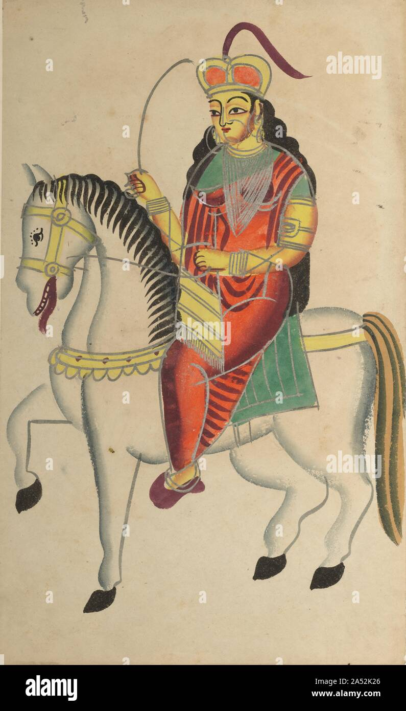 The Mutiny of the Heroine Rani Lakshmi Bai of Jhansi, 1800s. Rani Lakshmi Bai was a widow of Raja Gangadhar Rao, the Maharaja of Jhansi, whose state had been annexed by the British. On June 10, 1857, following a massacre of Europeans by local Indian troops, she was proclaimed ruler. One of the first freedom fighters, she resisted the British and was killed in June 1858. She later became a legendary mutiny heroine and an icon for the Indian independence movement. In this image she wears a British crown and has her sword raised. Stock Photo