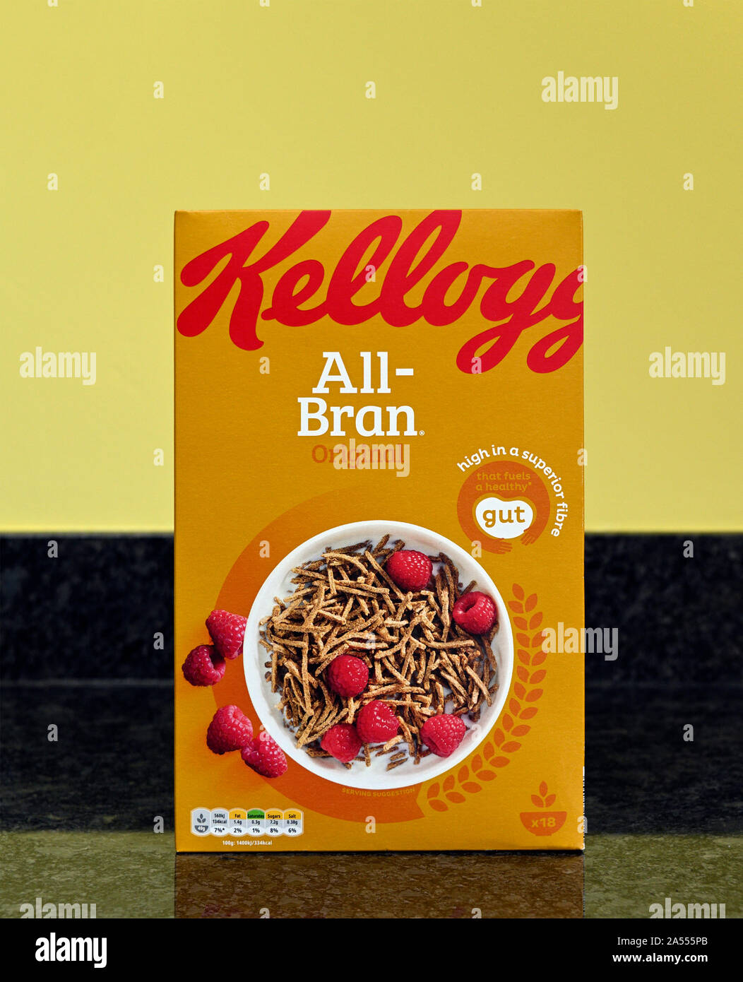Pack of Kellogg's All-Bran Original breakfast cereal. High in a superior fibre that fuels a healthy gut. Stock Photo