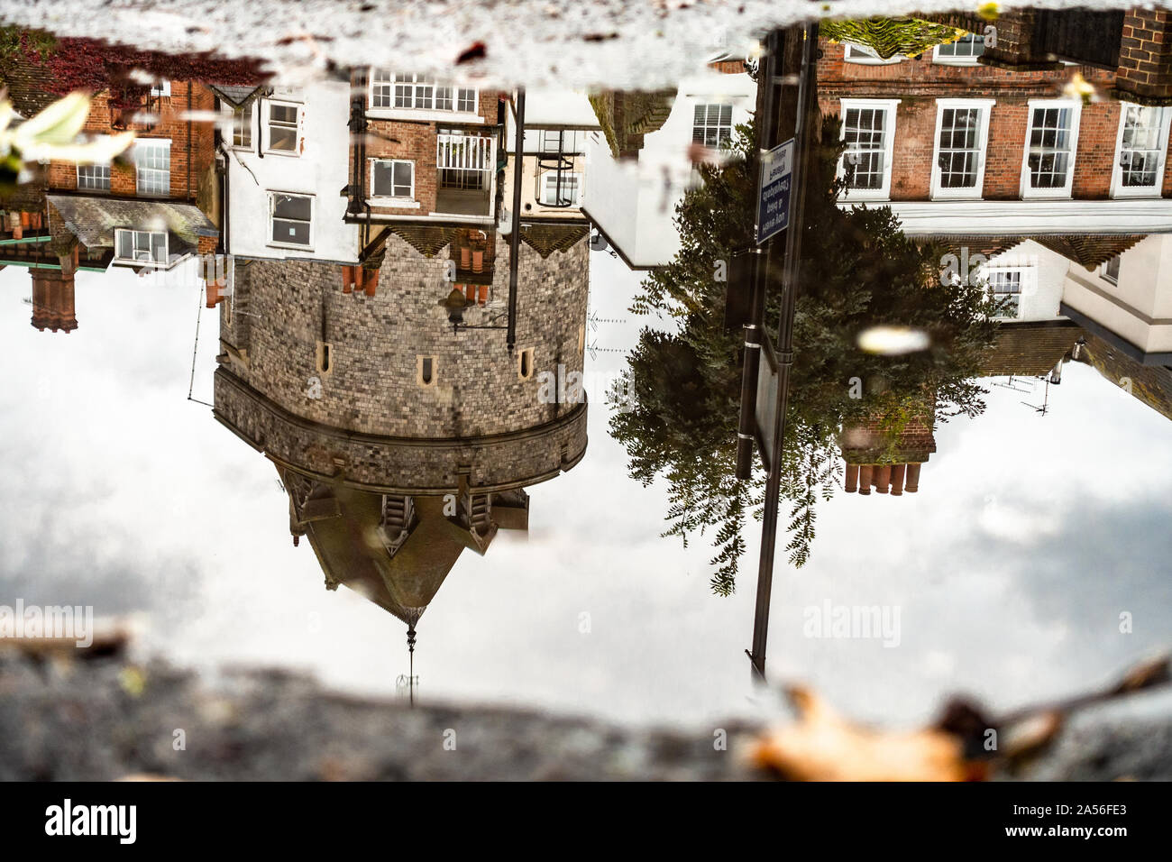 reflections-of-buildings-including-windsor-castle-in-a-puddle-on-the-floor-2A56FE3.jpg