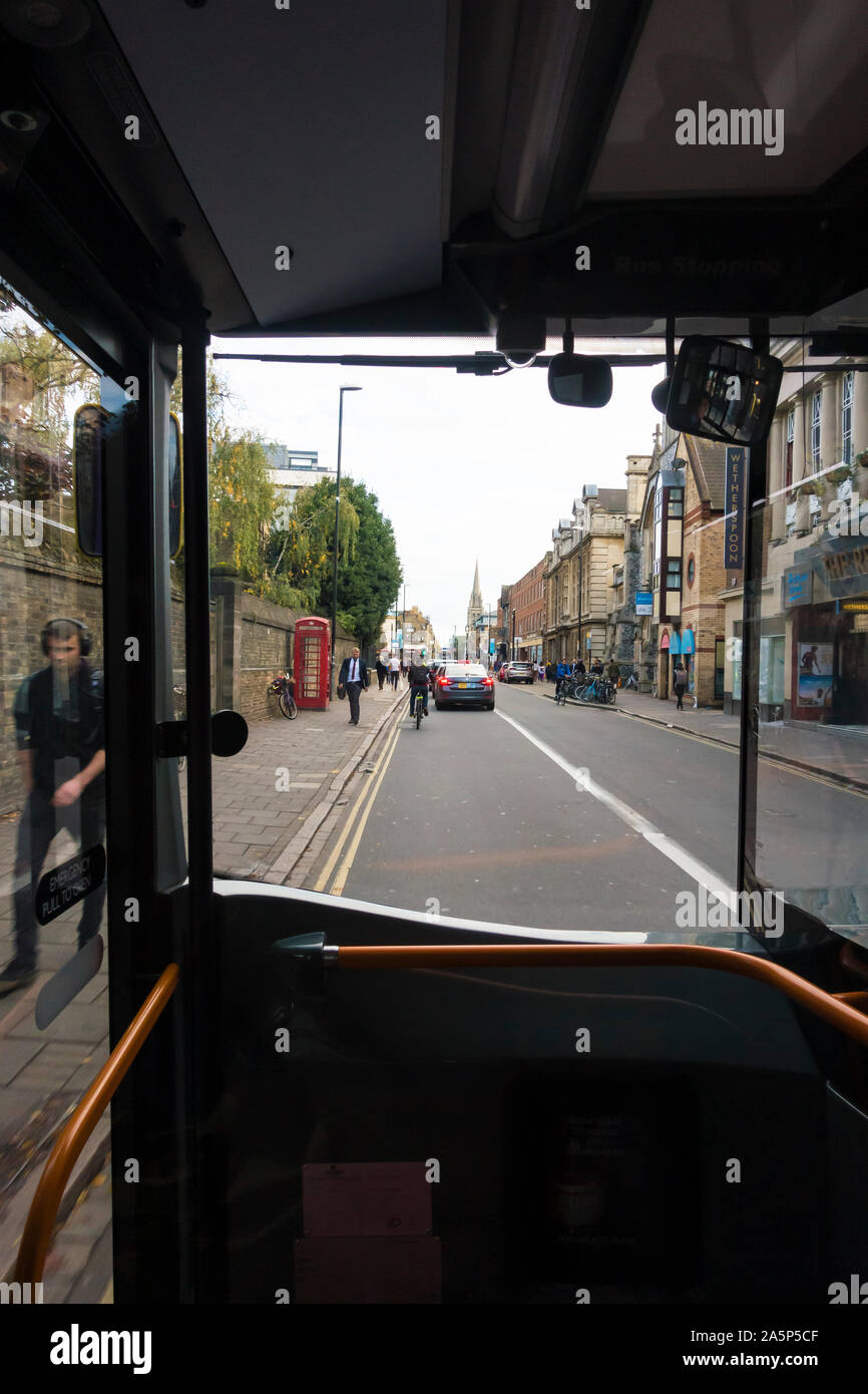 View out of bus window along St Andrews street Cambridge 2019 Stock Photo