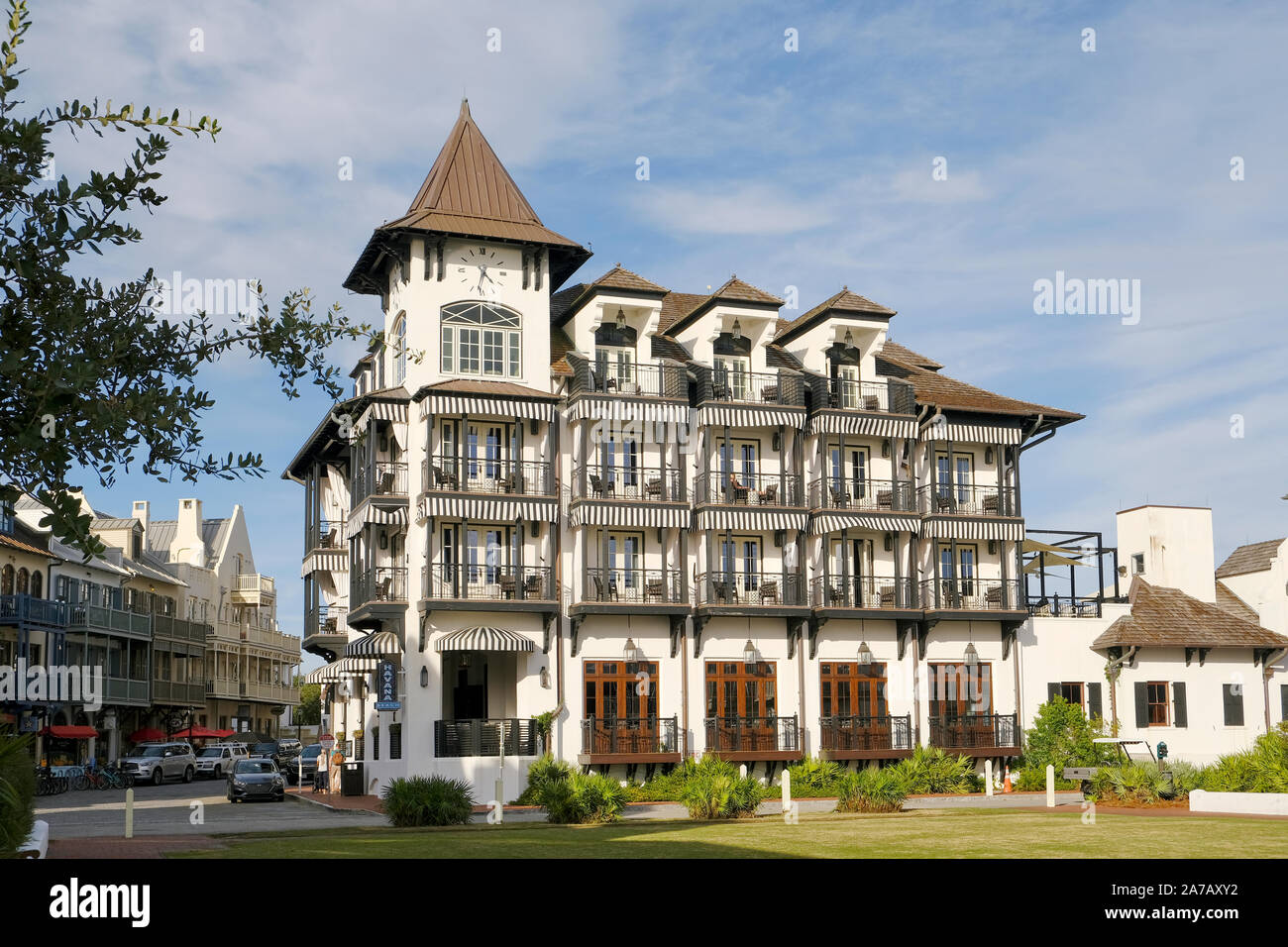 The Pearl Hotel exterior on the Gulf of Mexico, a beach side hotel in the Florida panhandle, Rosemary Beach, Florida USA. Stock Photo