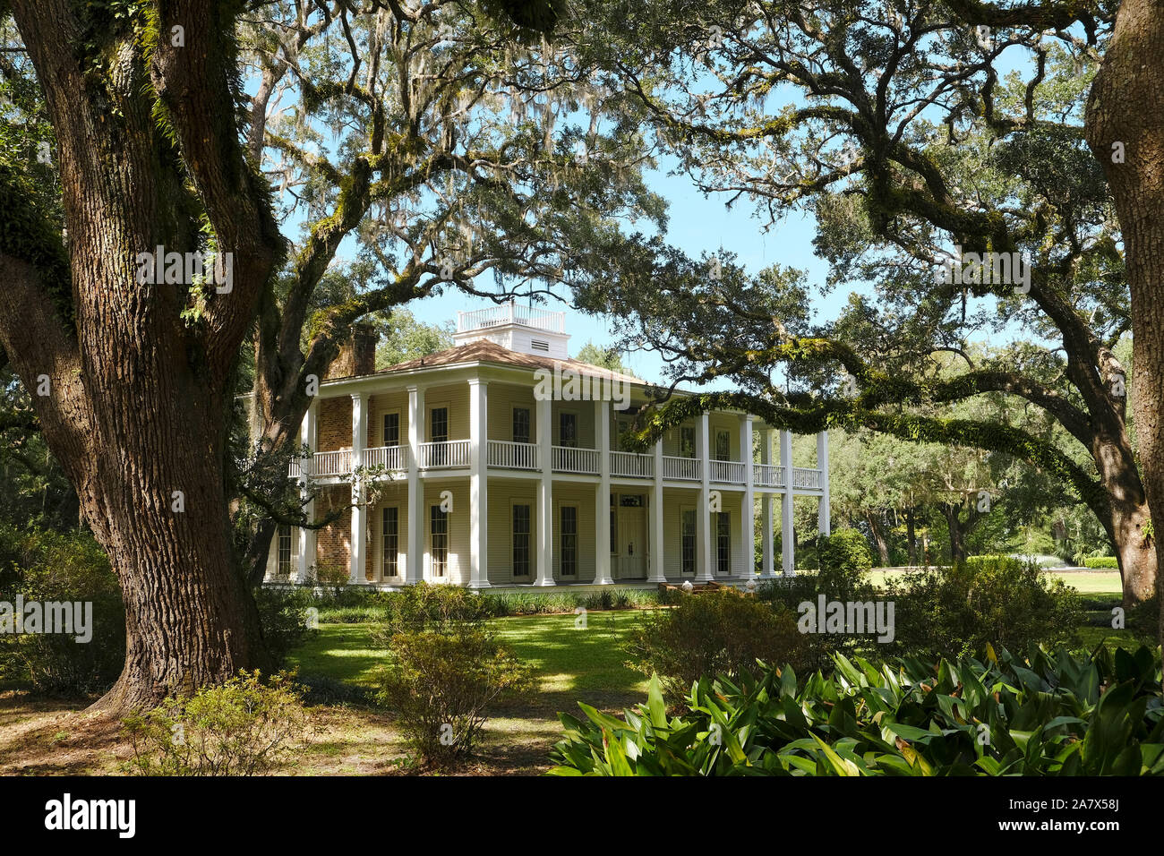 Eden Gardens State Park grounds with the plantation style house of William Henry Wesley amid towering live oak trees in Santa Rosa Beach Florida USA. Stock Photo