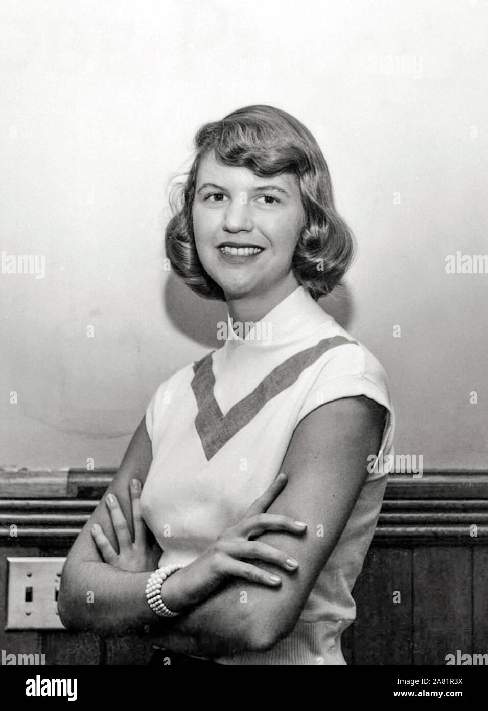 Sylvia Plath (1932-1963) American writer best remembered for her post-modernist confessional poetry and her semi-autobiographical novel The Bell Jar about a woman suffering from mental illness published under the pseudonym Victoria Lucas, a month before she committed suicide. Stock Photo