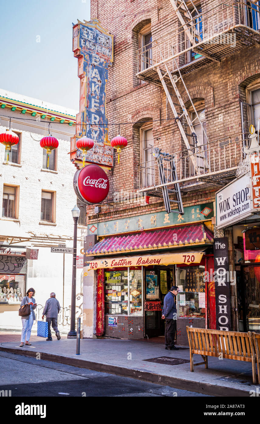 An exterior view of Eastern Bakery in San Fransisco's China Town, California, USA. Stock Photo