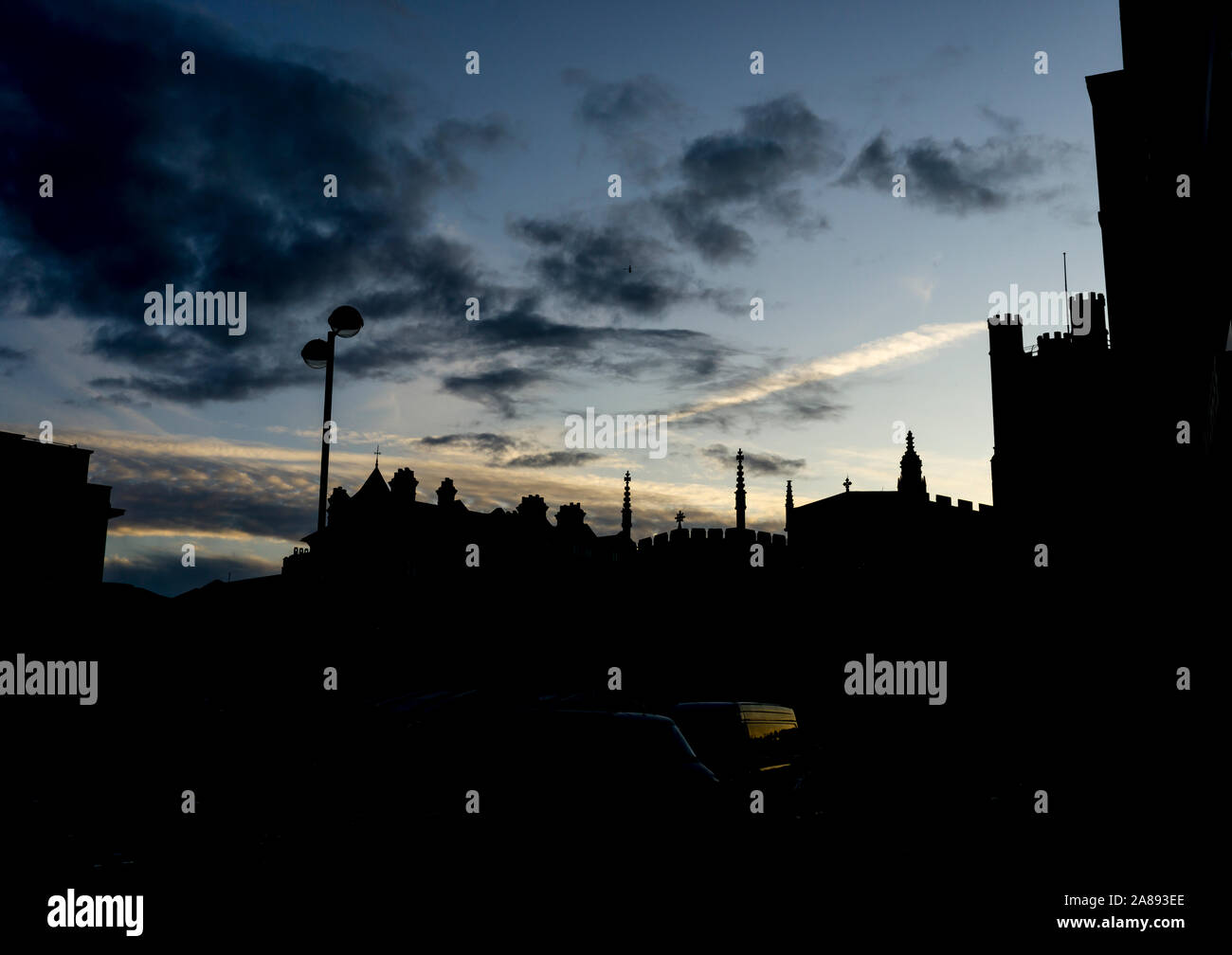 Skyline silhouette at dusk Cambridge city 2019 Stock Photo