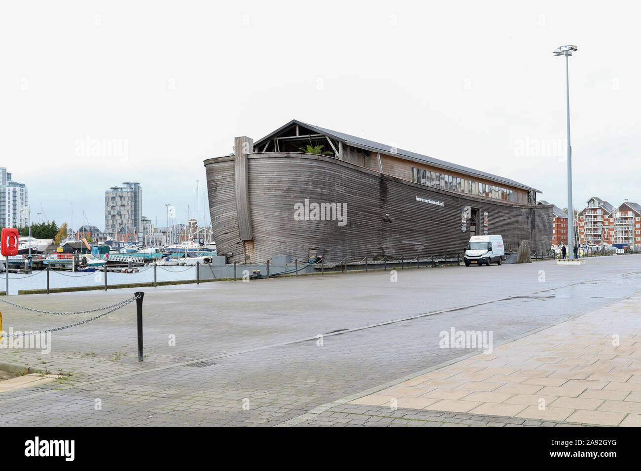 Ipswich, Suffolk, UK. 12th Nov, 2019. A 70m replica of Noah's Ark has arrived in Ipswich, Suffolk. Inside you can find a museum which includes a 12ft tall Tree of Life. The ark is the creation of Dutch artist and TV producer Sir Aad Peters. It will stay in Ipswich for 3 months and will be open from Friday 15th of November. Credit: David Johnson/Alamy Live News Stock Photo
