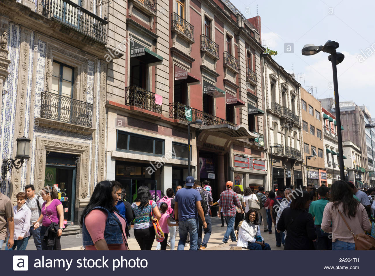 A block in the historic center of Mexico City on a weekend. Stock Photo