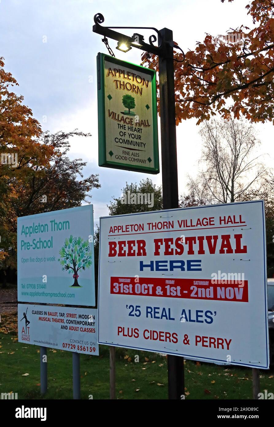 @HotpixUK,HotpixUK,GoTonySmith,Village,evening,night,nighttime,England,UK,North West England,Stretton Rd,Appleton Thorn,Warrington WA4 4RT,Stretten Road,Cheshire,WA4 4RT,Appleton,CAMRA,award winning,Village hall,CAMRA award winning village hall,sign,outside,exterior,pub,bar,Thorn,Beer Festival,Appleton Thorn Beer Festival,Real Ales,ciders,perry,community