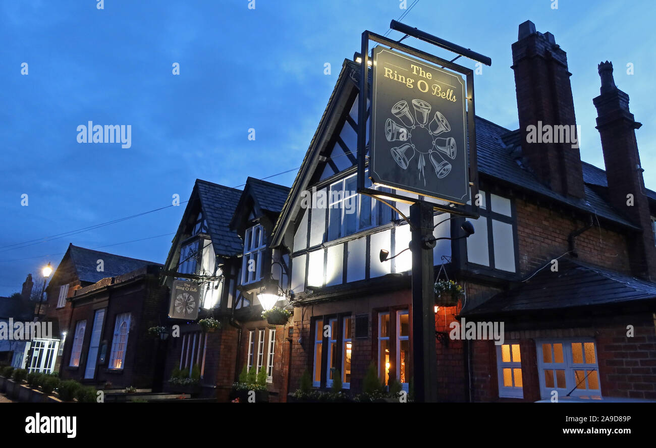 @HotpixUK,HotpixUK,GoTonySmith,Blue Hour,evening,night,nighttime,night time,England,UK,North West England,Ring of Bells,pub,bar,village,pub sign,village pub,CAMRA,Real Ale,7 Chester Rd,Daresbury,Warrington,Cheshire,Uk,WA4 4AJ,WA4,7 Chester Road,North West,Chef and Brewer,alehouse,traditional pub,Halton,Chapel Hill,Dale Street,1841,sign,timber framed