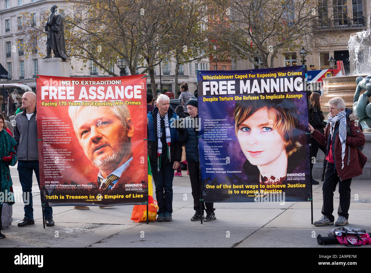 london-uk-16th-november-2019-protesters-gathered-in-trafalgar-square-to-demand-the-release-of-julian-assange-and-chelsea-manning-assange-is-currently-in-belmarsh-prison-awaiting-an-extradition-hearing-he-faces-extradition-re-charges-in-the-usa-relating-to-computer-intrusion-and-the-espionage-act-1917-relating-to-wikileaks-and-information-leaked-by-chelsea-manning-organised-by-the-committee-to-defend-julian-assange-credit-stephen-bellalamy-2A9P87M.jpg