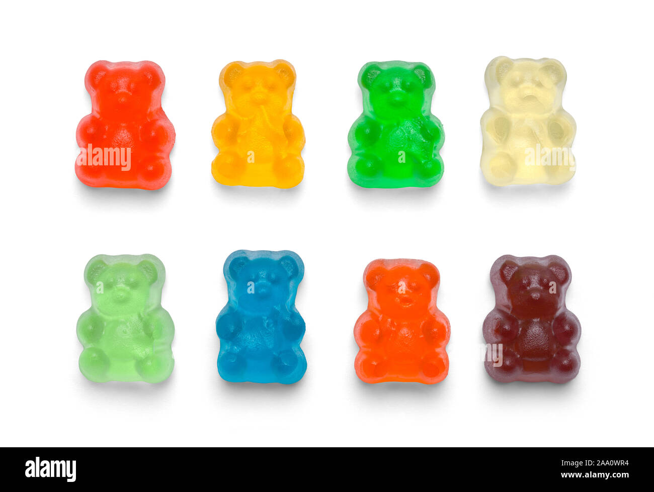 Several Colorful Gummy Bears Isolated on White Background. Stock Photo