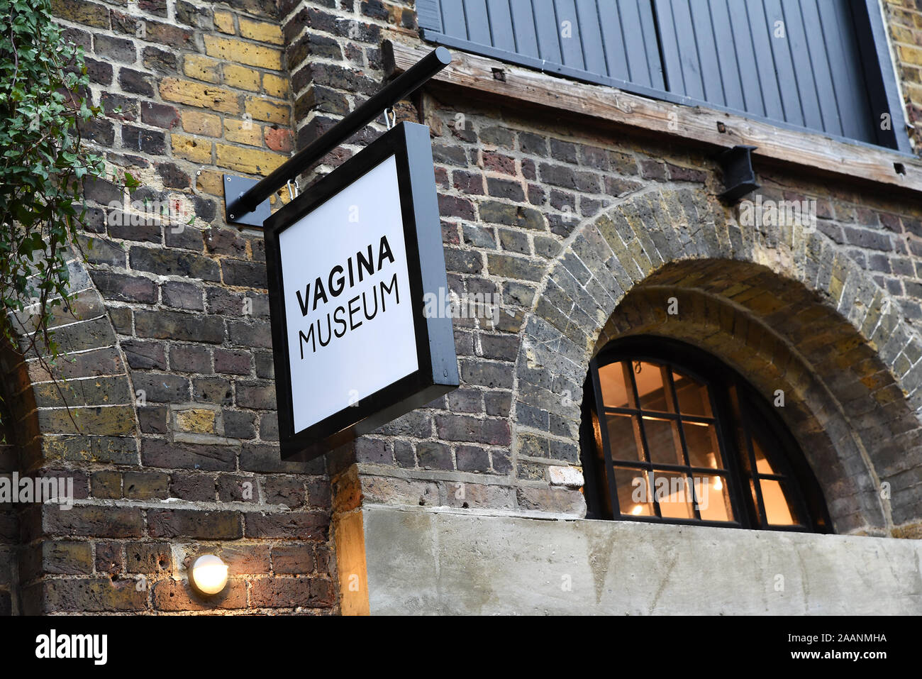 london-uk-16th-november-2019-opening-day-at-camden-markets-vagina-museum-located-in-stables-market-camden-with-the-intention-to-open-permanent-premises-in-the-future-claimed-to-be-the-worlds-first-bricks-and-mortar-museum-dedicated-to-the-vagina-vulva-and-gynaecological-anatomy-on-its-opening-day-the-museum-was-crowded-mainly-with-women-from-all-ages-the-museum-a-registered-charity-was-created-by-florence-schechter-pictured-vagina-museum-signage-outside-the-museum-credit-stephen-bellalamy-2AANMHA.jpg