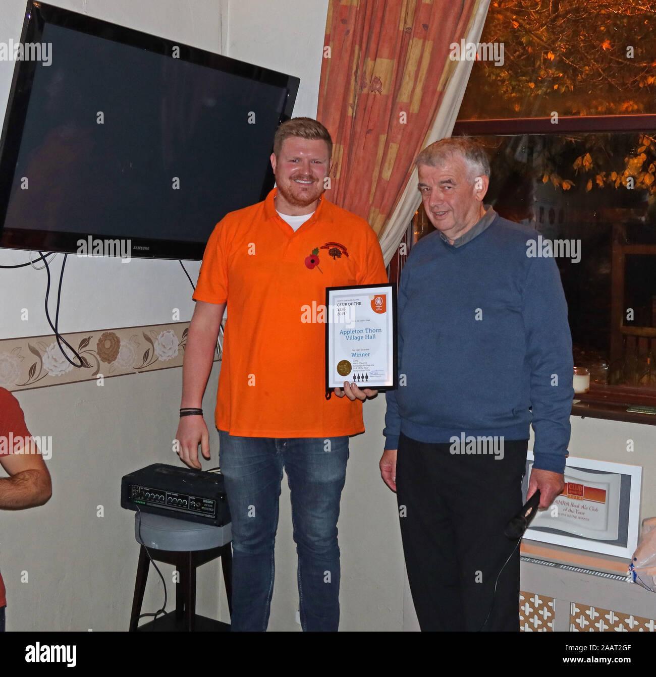 HotpixUk,@HotpixUK,GoTonySmith,UK,England,English,Appleton,CAMRA National Club of the Year 2019,National Club of the Year,2019,Warrington,Cheshire,WA4 4RT,local beer festival,village beer festival,awarded,awards,real ale,bitters,IPA,Chris Massey,Steward,receives award,receives,presented,club of the year award,certificate,01/11/2019,1st November 2019,Friday,posing with award,presented with award