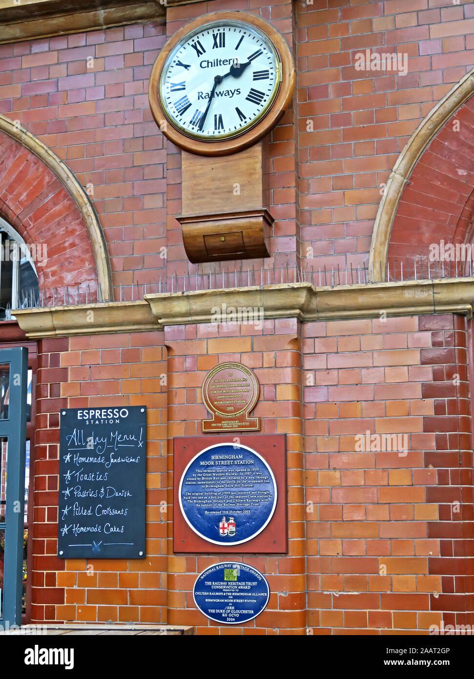HotpixUk,@HotpixUK,GoTonySmith,UK,England,English,BMO,GWR,City Centre,West Midlands,Historic,transport,architecture,Chiltern Railways Clock,restoration awards,Clock,plaques