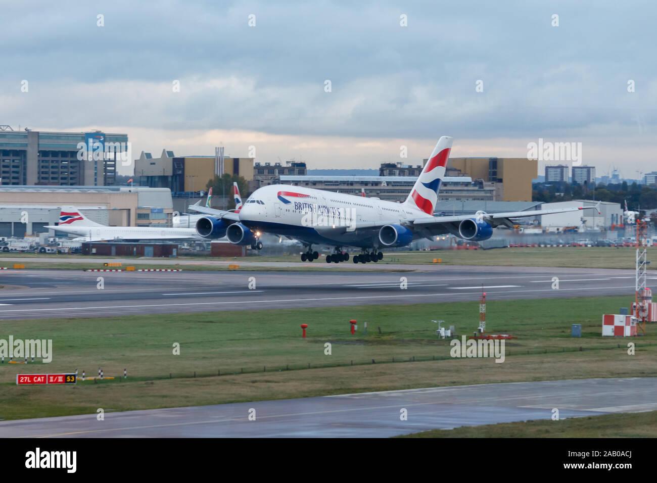 London, England - Circa 2019 : British Airways Airbus A380 Aircraft G-XLEJ Landing at London Heathrow Airport Stock Photo