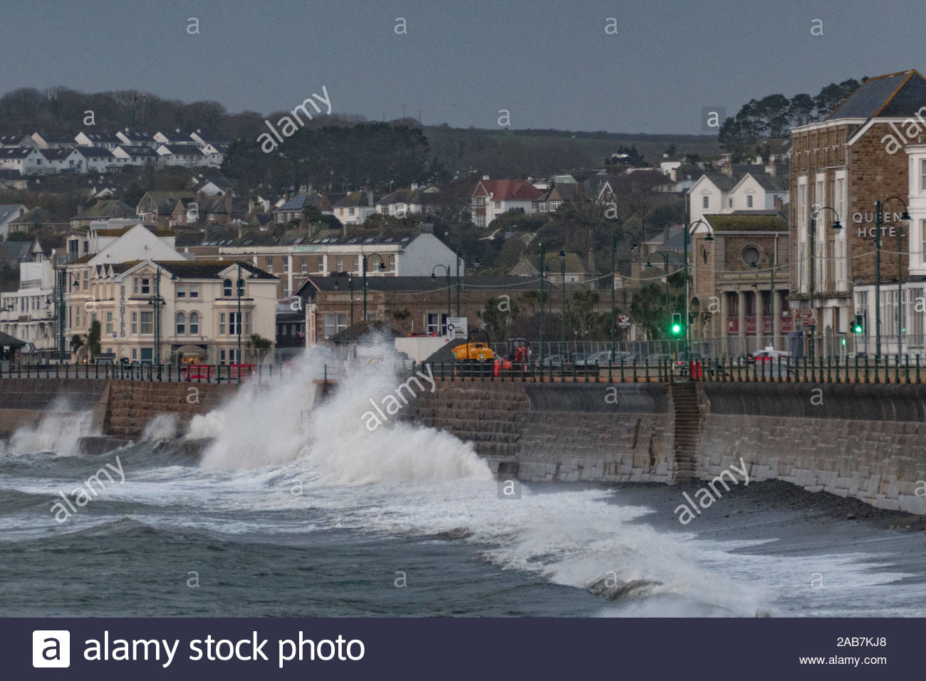 Penzance, Cornwall, UK. 26th November 2019. UK Weather. Winds gusting upto 50 mph are starting to hit the Cornwall coast at Penzance this morning at Storm Sebastian approaches, pushing waves over the seafront at Penzance, even 4 hours after high tide. Credit Simon Maycock / Alamy Live News. Stock Photo