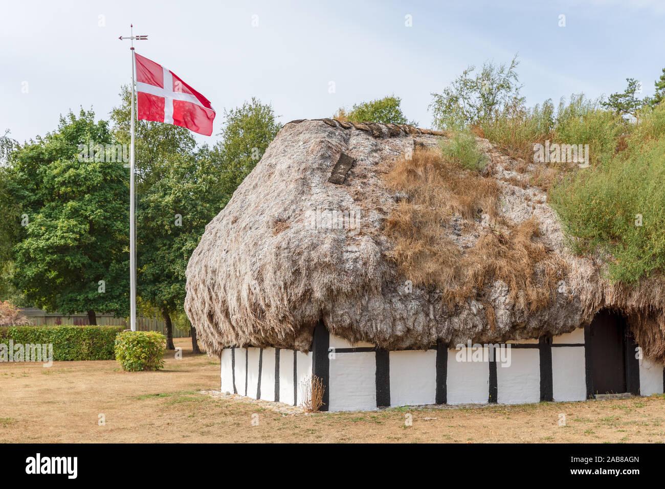 Seaweed roofed, timber-framed house; Hedvigs Hus (Hedvig's House); Læsø, Denmark Stock Photo