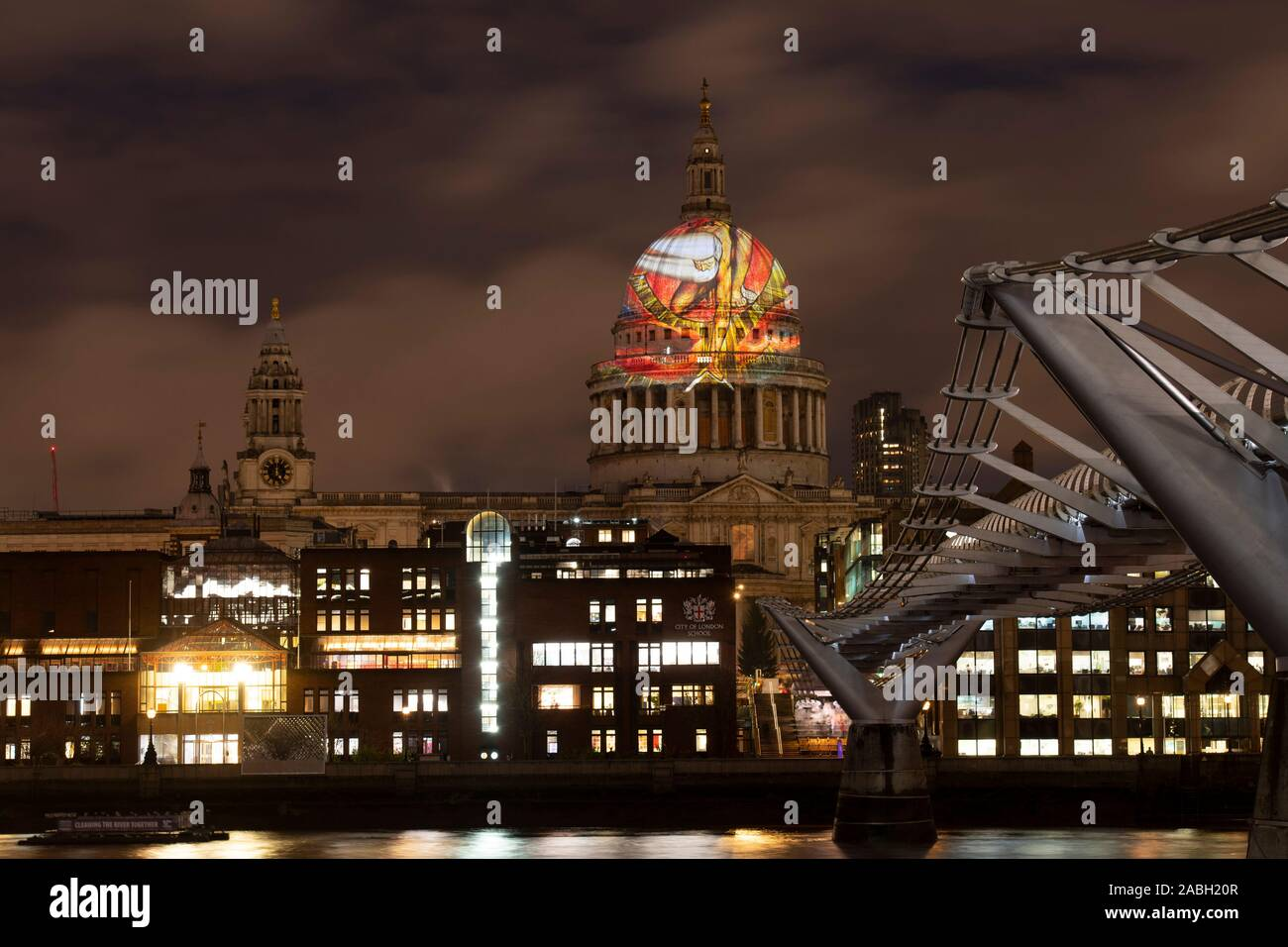 St Pauls Cathedral, London, UK. 27th November 2019. William Blake's final masterpiece 'Ancient of Days' is projected onto the iconic dome of St Paul's Cathedral, in celebration of the artist's birthday. The dramatic illustration, from 1827, was described by Blake as 'the best I have ever finished' and will be visible across London each evening throughout the weekend. Credit: Malcolm Park/Alamy Live News. Stock Photo