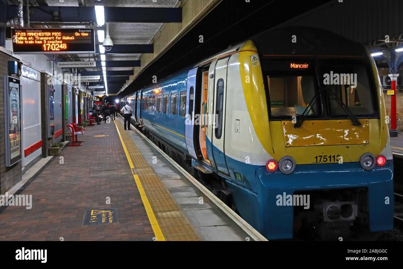 @HotpixUK,HotpixUK,GoTonySmith,UK,Cheshire,England,GB,Great Britain,Merceir,train,to,at,WBQ,station,railway station,Wilson Patten St,Warrington,WA1,to Manchester Piccadilly,blue,yellow,night,dusk,evening,transport