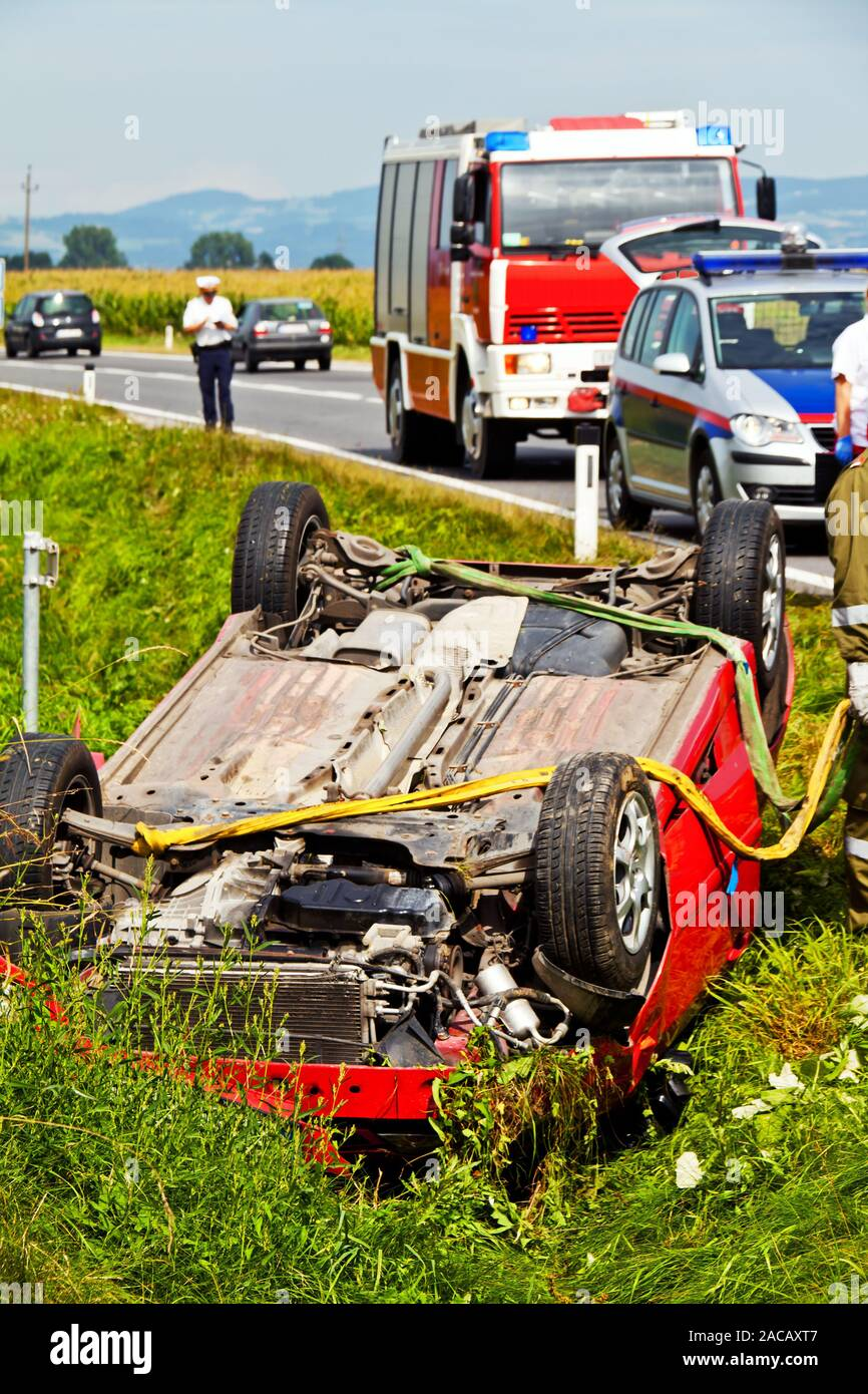 Traffic accident. Accident with car, ambulance, police. - Stock Image