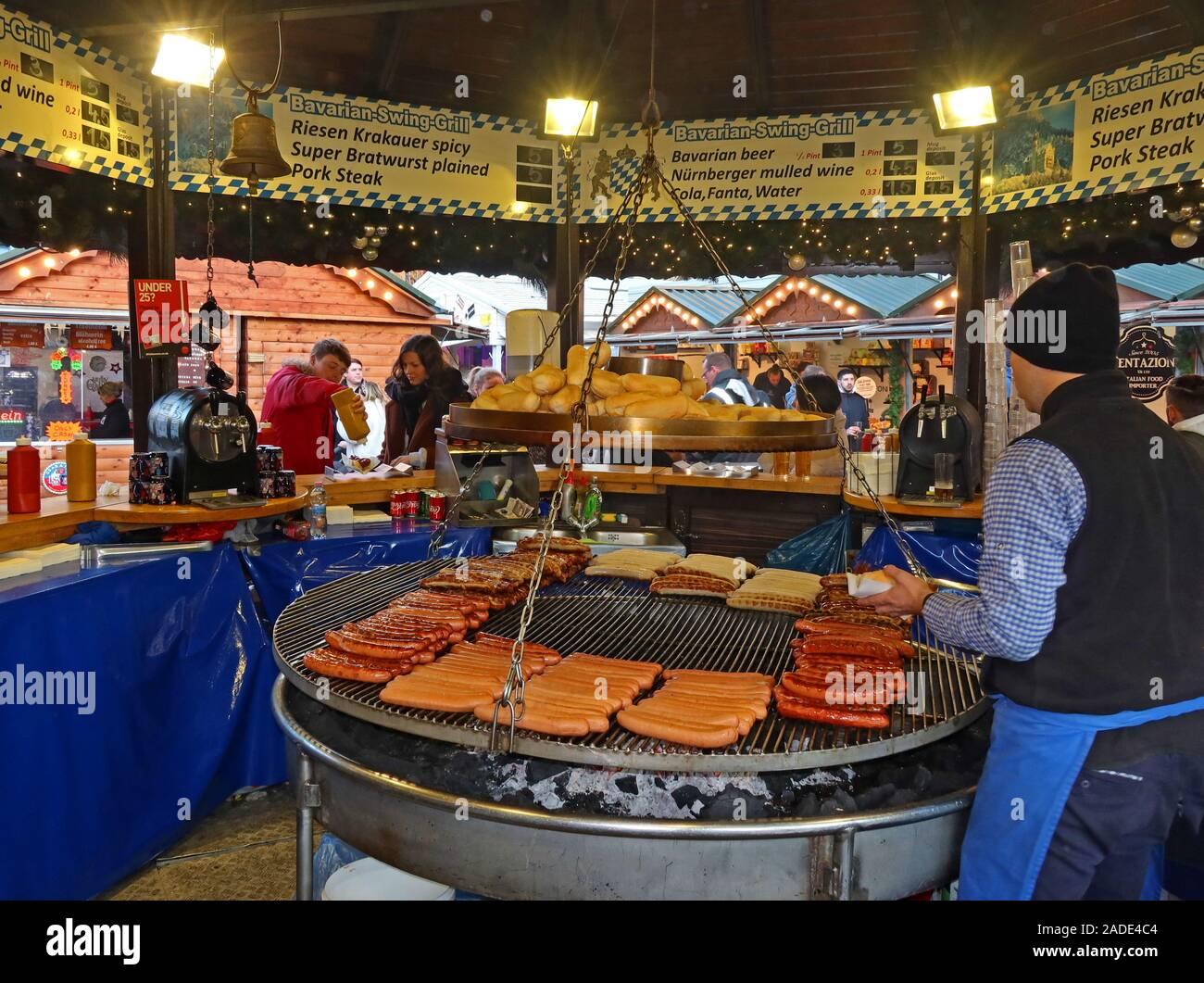 GoTonySmith,HotpixUK,@HotpixUK,Wurst,grilling over charcoals,German market,Albert Square,Manchester,England,UK,Xmas,Christmas,Market,food,BBQ,swing,hotdog,hotdogs,Pork Steak,Riesen,Krakauer,mulled wine,Bavarian cuisine,Bavarian,cuisine