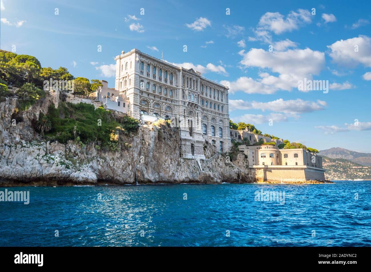 View from the sea of the Monaco Aquarium Oceanographic Museum of marine sciences in Monaco-Ville, Monaco. Stock Photo