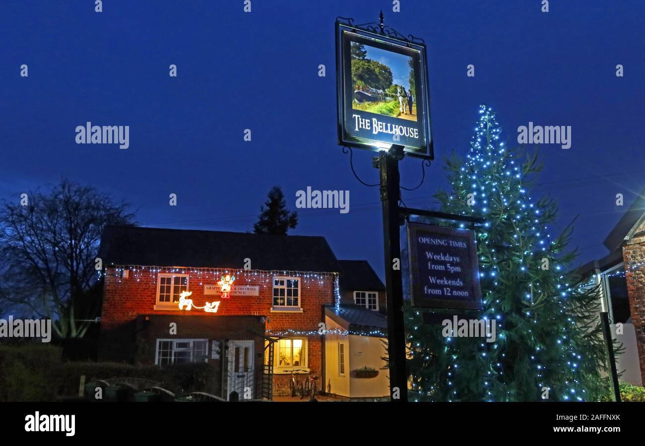 GoTonySmith,HotpixUK,@HotpixUK,pub,bar,at dusk,nighttime,night time,evening,festive,village,Grappenhall,Warrington,Cheshire,England,UK,Bellhouse,club,community centre,pub sign,parish,council,Grappenhall & Thelwall,Grappenhall and Thelwall,Grappenhall Thelwall,parish council,Xmas tree,Christmas tree,tree lights,lights,Xmas lights,Christmas Lights