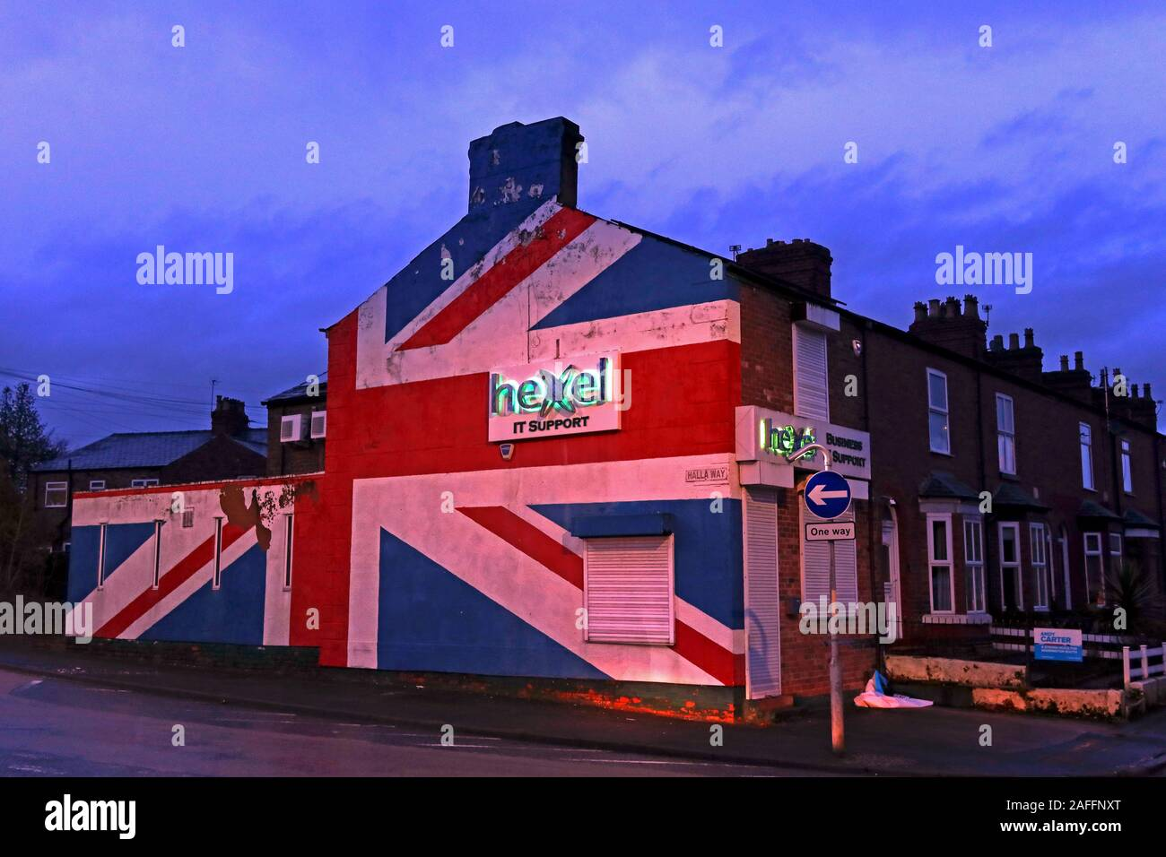 GoTonySmith,HotpixUK,@HotpixUK,dusk,night,at dusk,nighttime,night time,WA4,Great Britain,British,United Kingdom,ICT,union flag,painted on Hexel IT Support,15 Wash Lane,Cheshire,England,UK,painted,Brexit,patriotic,gable end,gable-end,shop,company,Jubilee,Queen,Diamond Jubilee,proud to be British,British Pride,Jubilee 2012,Olympics 2012,God Save The Queen,ER,Shankhill Road,Belfast