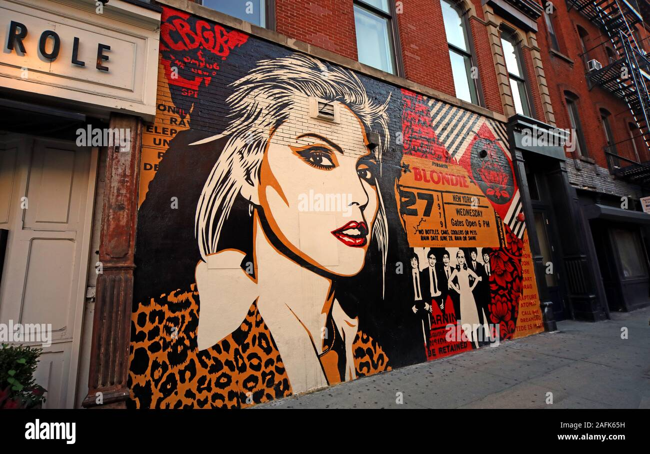HotpixUK,@HotpixUk,GoTonySmith,NYC,NY,New York,Manhattan,USA,city,city centre,US,punk,new wave,music,icon,vocalist,ticket,wall,Lower Manhattan,club,venue,CBGB,CBGB band,1970s,rock band,American,punk band,Chris Stein,Blondie mural,art,graffiti,Deborah Harry,RIP Debbie Harry,Deborah Ann Harry,Playboy Bunny,OMFUG,Country BlueGrass Blues,27,Parallel Lines