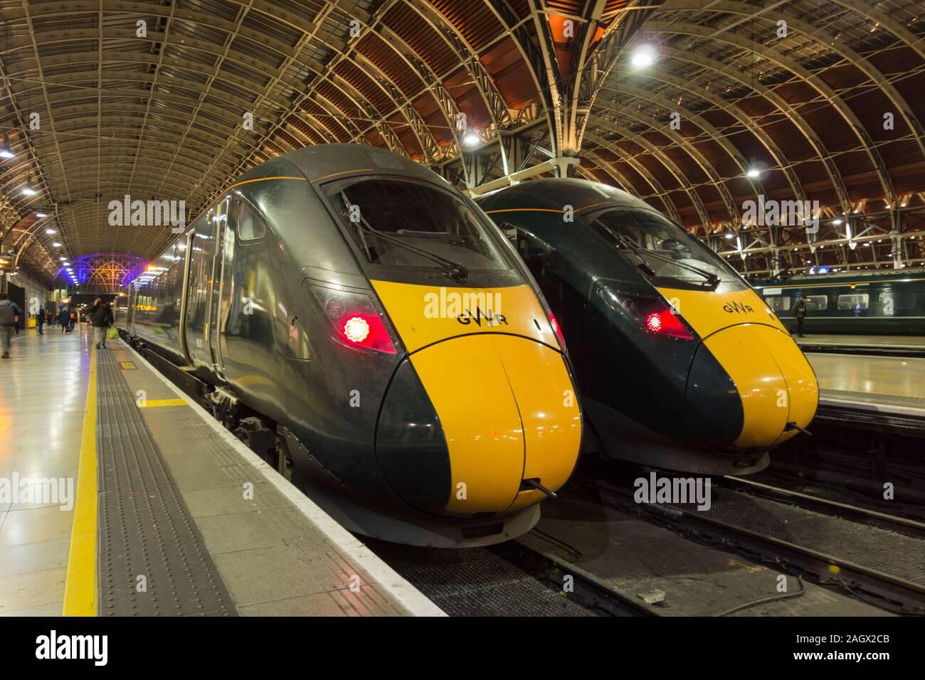 The windscreens of Hitachi Class 800 Intercity Express Trains at Paddington Station, London, UK Stock Photo
