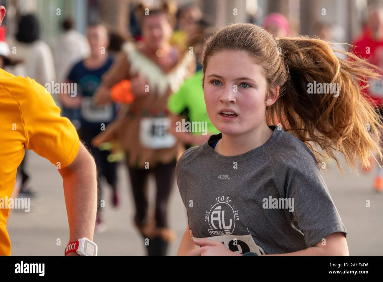 Benidorm, Alicante Province, Spain. 29th December 2019. The annual San Silvestre fun run, 5k fun run seen today in the New town and along the promenade included runners from many UK athletics clubs. Credit: Mick Flynn/Alamy Live News Stock Photo