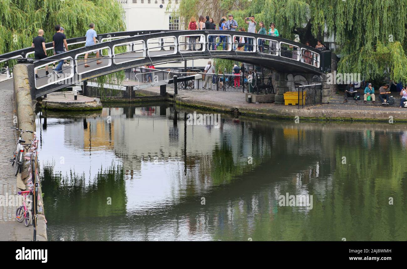 bridge over camden town lock and market in london Stock Photo