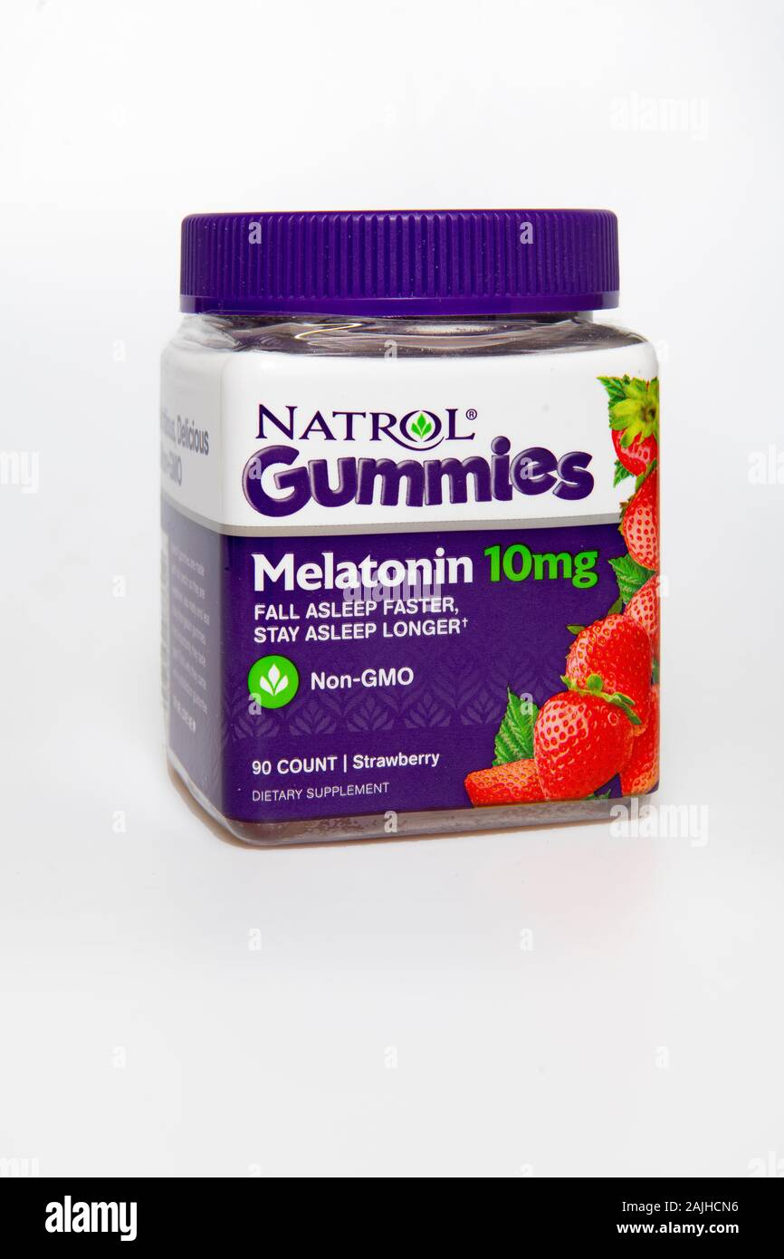 Melatonin Sleep Aid Gummies Natrol brand Non GMO 10mg Stock Photo