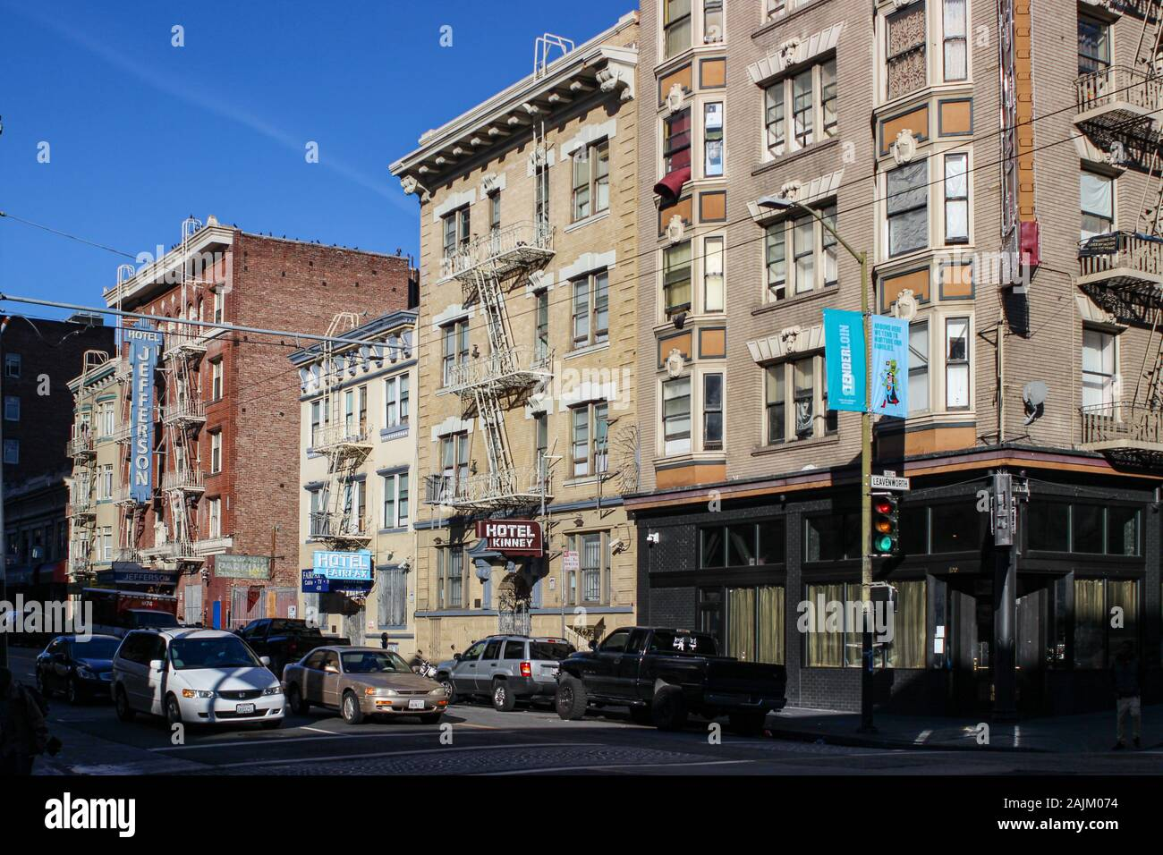 Tenderloin district street view with supportive housing hotels in San Francisco, United States of America Stock Photo