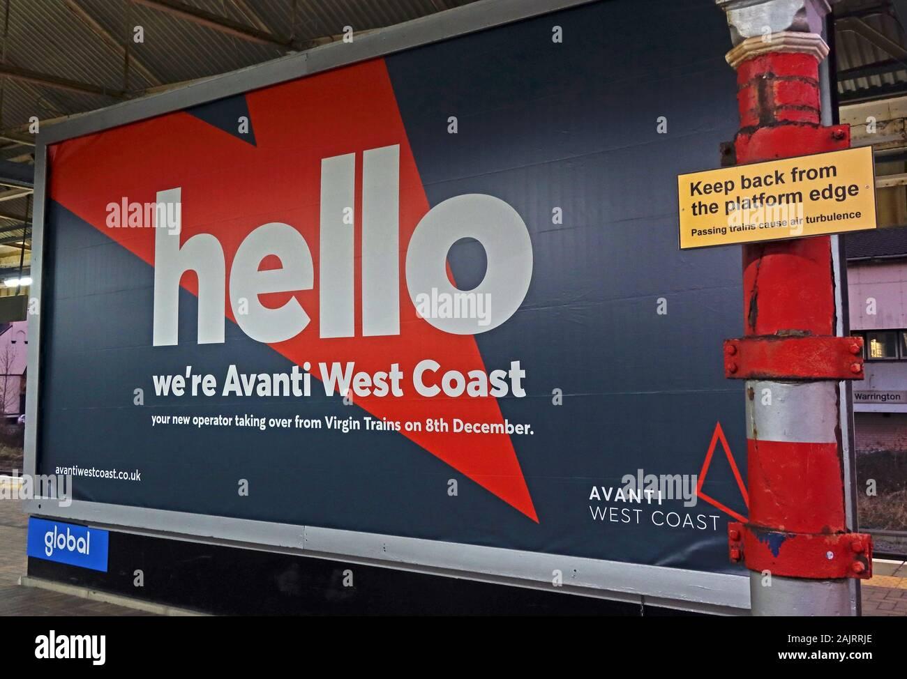GoTonySmith,HotpixUK,@HotpixUK,Dec 2019,Virgin Trains,franchise,TOC,train operating company,delays,complaints,WBQ,train,rail,railway,UK,England,British Rail,British,Avanti West Coast,re-brand,rebranded,new brand,Avanti FirstGroup TrenItalia,Warrington,Cheshire,advert,advertisement,publicity,evening,WCP,platform,station,WA1,Keep away from Platform edge,red,orange,West Coast
