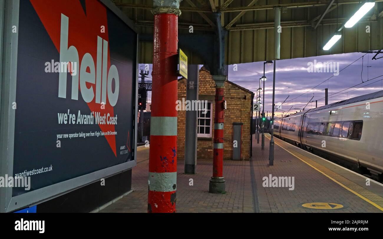 GoTonySmith,HotpixUK,@HotpixUK,Dec 2019,Virgin Trains,franchise,TOC,train operating company,delays,complaints,WBQ,train,rail,railway,UK,England,British Rail,British,Avanti West Coast,re-brand,rebranded,new brand,Avanti FirstGroup TrenItalia,Warrington,Cheshire,advert,advertisement,publicity,evening,Class390,WCP,Pendolino,platform,station,EMU,WA1,Platform two,Platform 2
