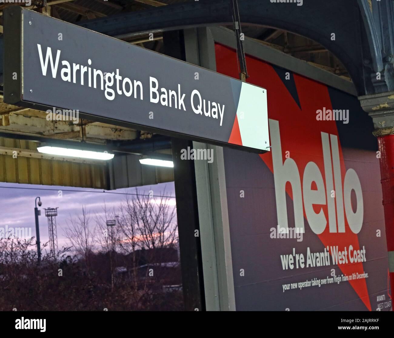 GoTonySmith,HotpixUK,@HotpixUK,Dec 2019,Virgin Trains,franchise,TOC,train operating company,delays,complaints,WBQ,train,rail,railway,UK,England,British Rail,British,Avanti West Coast,re-brand,rebranded,new brand,Avanti FirstGroup TrenItalia,Warrington,Cheshire,advert,advertisement,publicity,evening,WCP,platform,station,WA1,Warrington Bank Quay Sign,Bank Quay Sign,platform two,Trains South,London Train