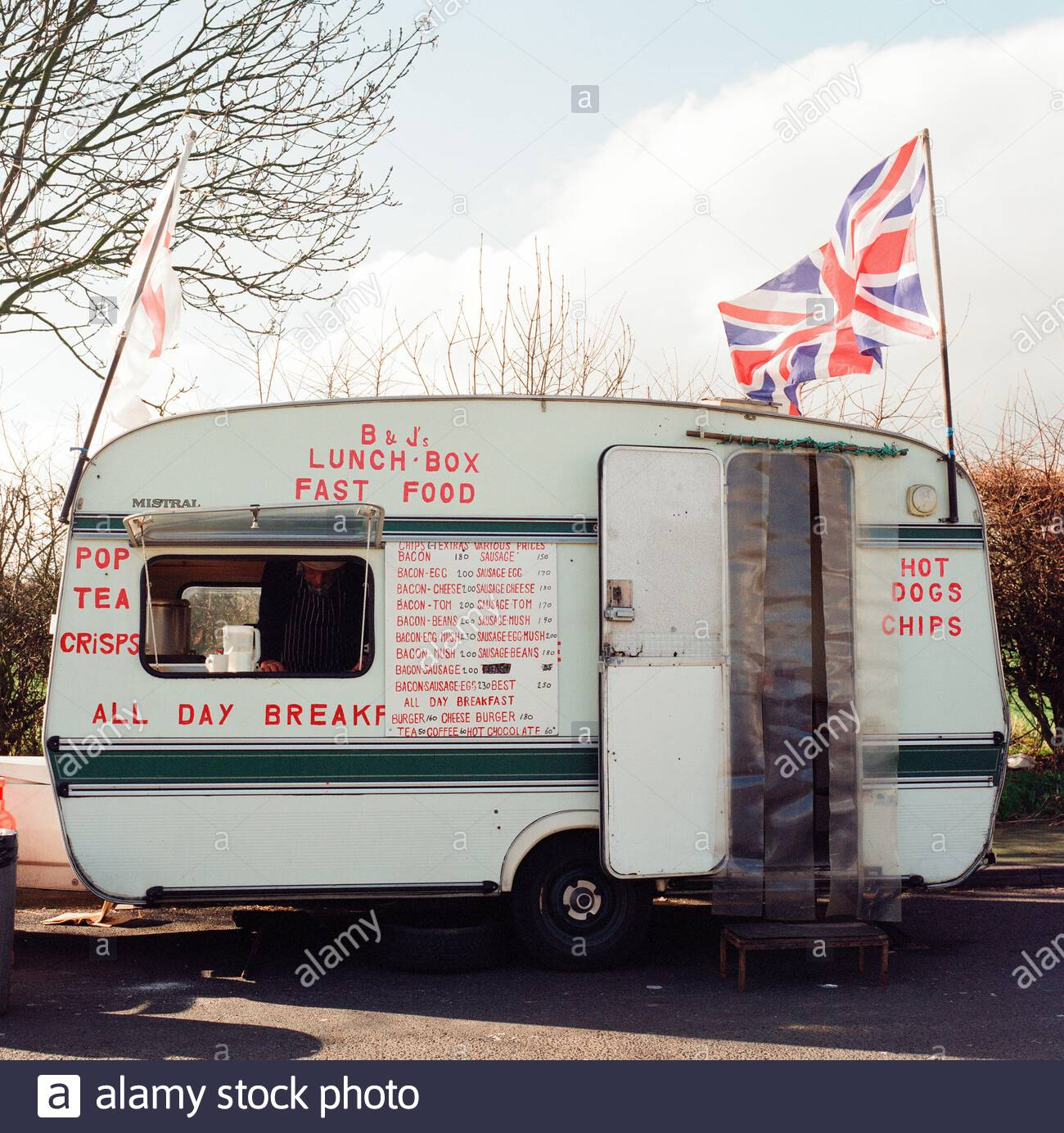 B & J's Lunch Box, a roadside lay-by snack van, on the A442 road in Shropshire, UK. Stock Photo