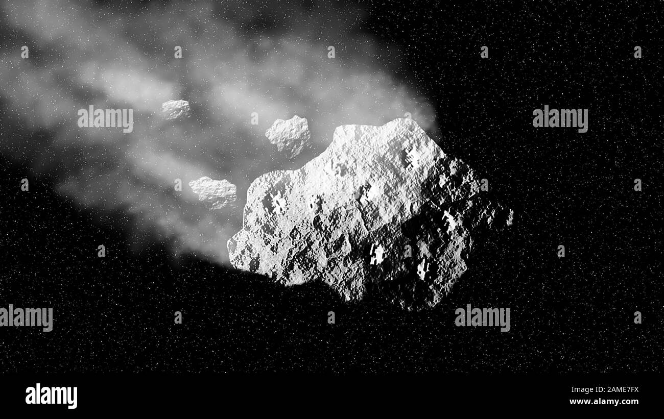 Abstract ice meteorite in motion. Beautiful space concept background Stock Photo