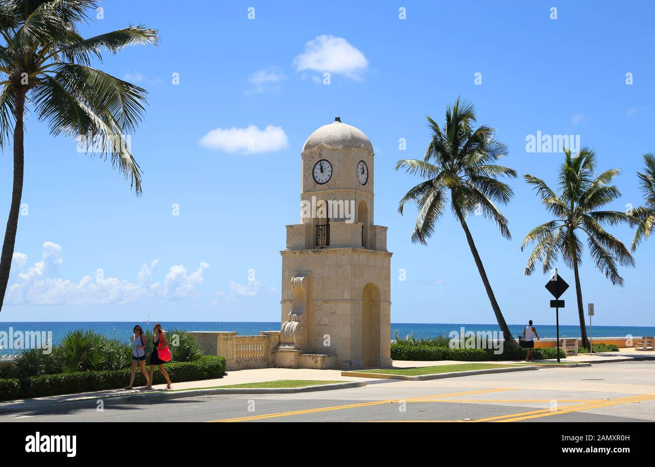 the clock tower at palm beach on the florida coast Stock Photo