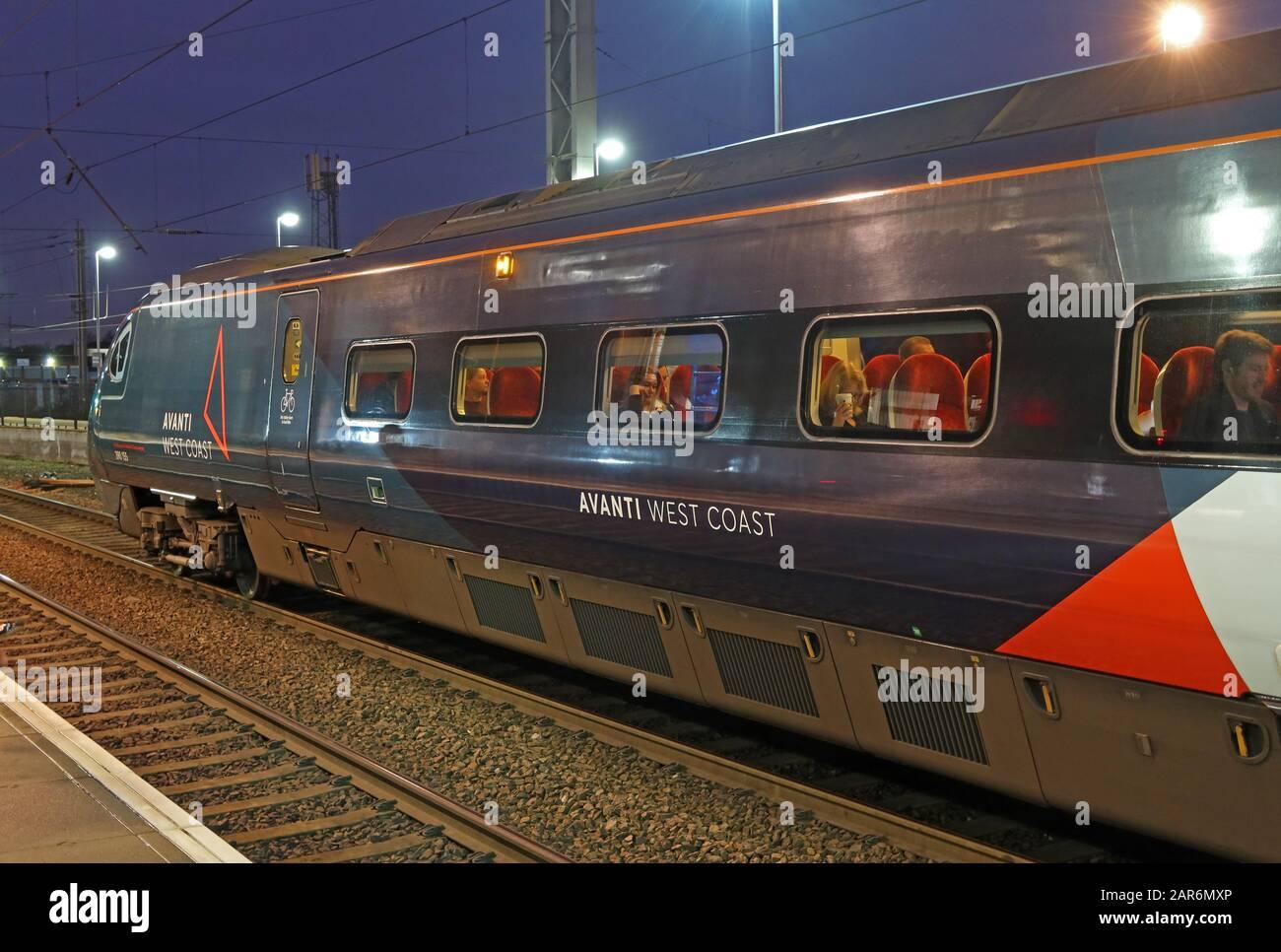 GoTonySmith,HotpixUK,@HotpixUK,railway station,electric,EMU,BR Class 390,TOC,Train Operating Company,WCML,West Coast Main Line,WA1,at night,night,dusk,Cheshire,England,Warrington,franchise,delays,late trains,poor service,good service,improvement,rebrand,rebranding,First Group,Avanti,unit,train 390155,new livery,evening,fleet,refurbished Pendolino,carriage,public transport,repainted