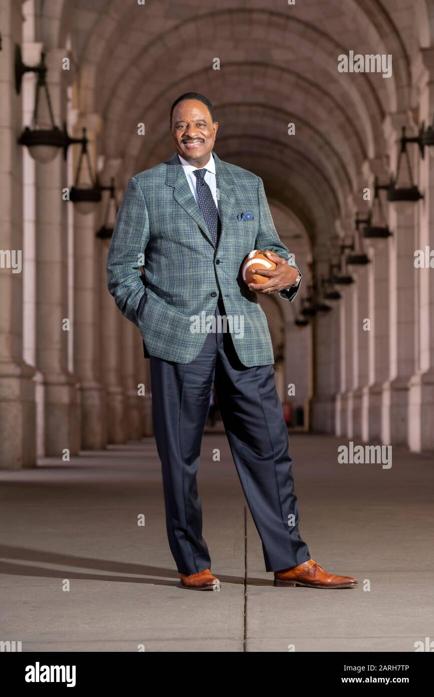 USA James Brown sports announcer for CBS Television commentator on professional American football  pictured at Union Station in Washington DC Stock Photo